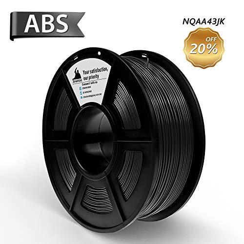 3D Filament, ABS 3D Printer Filament 1.75mm, 1KG Spool(2.2lbs),3D Printing Filament Dimensional Accuracy +/- 0.02mm- NO Clogging(Black)