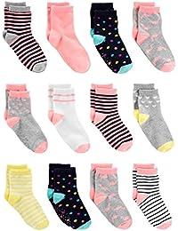 Simple Joys by Carter's Pack de 12 calcetines para bebés y niñas pequeñas