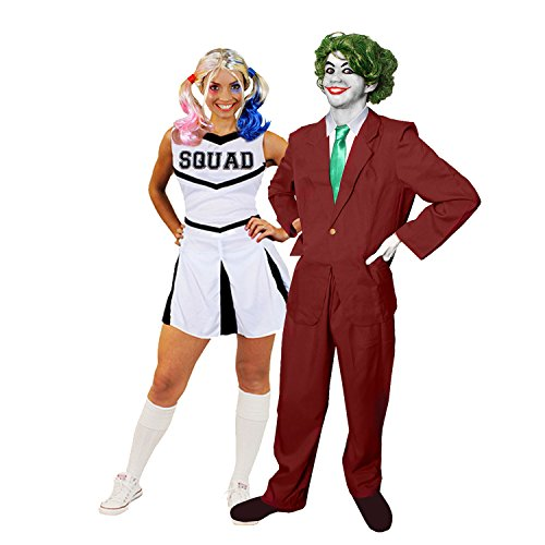 Kostüm Perücke Cheerleader - JOKER+CHEERLEADER PAAR KOSTÜM VERKLEIDUNG HALLOWEEN KARNEVAL FASCHING=CHEERLEADER+PERÜCKE +MAKE UP=JOKER-HOSENANZUG+KRAWATTE+PERÜCKE+HANDSCHUHE+MAKE UP=WEISSES CHEERLEADER-XSMALL+JOKER-MEDIUM