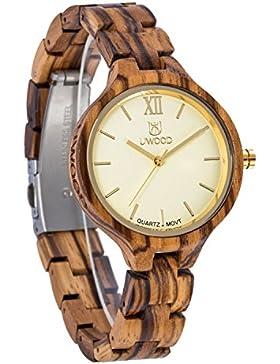 Damen holzuhr-UWOOD Luxus Handgemachte Holzuhr 35mm holz armbanduhr damen armbanduhr aus holz damen Uhren