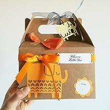 Cajita Regalo para Recién Nacidos con Cupcake (Babero TOMMEE TIPPEE + Calcetines en Algodón), Esponja natural SUAVINEX y Calcetines en Forma de Piruleta | Baby Shower Idea Regalo | Tono Neutro, UNISEX
