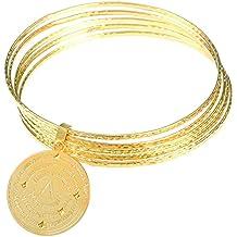 Joyas Amen pulsera mujer duro multicerchi Cartier acero IP Gold colgante Charm coamg