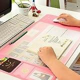Tappetino Impermeabile Multifunzione per mouse Carta assorbente 70x32cm Ufficio stuoia Antiscorrimento Mouse Pad con Sticker Phone Support XL (rose)