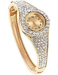 Shining Diva Fashion Jewellery 18k Gold Plated Watch Stylish Bangle Bracelet for Girls & Women