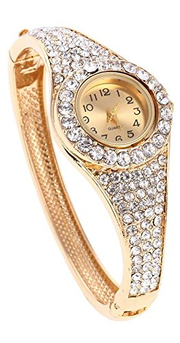 Shining Diva Fashion Luxury Watch Collection Gold Plated Charm Bracelet for Women (Golden)(9206bw)