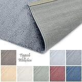 Designer-Teppich Pastell Kollektion | Flauschige Flachflor Teppiche fürs Wohnzimmer, Esszimmer, Schlafzimmer oder Kinderzimmer | Einfarbig, Schadstoffgeprüft (Dunkelgrau, 60 x 90 cm)