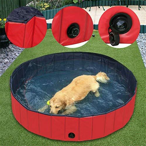 WISFORBEST Hundepool, Doggy Pool das Planschbecken Hundepool Swimmingpool aus Rot Umweltfreundliche PVC Faltbare Haustier Badewanne für Hunde Katzen Kinder, 80/120/160cm (XL: 120×30cm) -