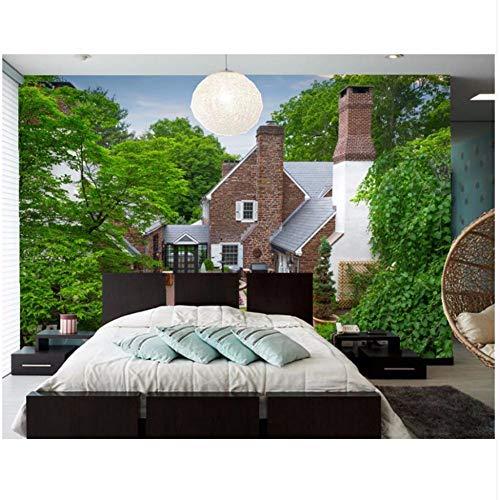Grandi murales, case fontane mansion design alberi città sfondi, soggiorno divano tv parete camera da letto carta da parati papel de parede