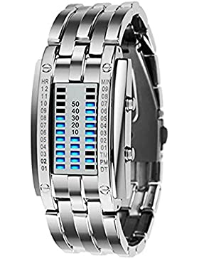 LED Digitaluhr Damen Uhr Sportuhr Datumsanzeige Armbanduhr Unisex Uhr Blau LED und Silber Band