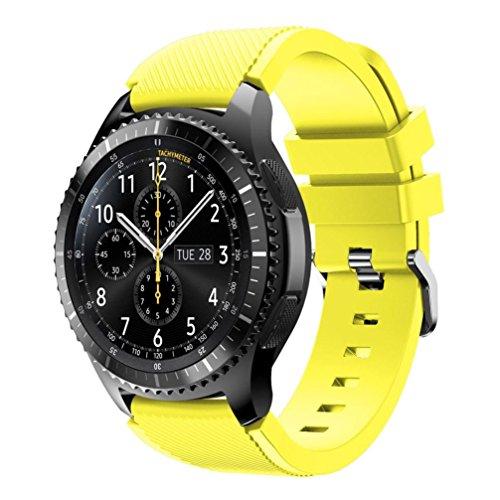Fulltime® Sport Silikon Armband Armbanduhr Armband für Samsung Gear S3 Frontier Smartwatch mit klassischen Gürtelschnalle, 140-250mm x 22mm (Gelb)