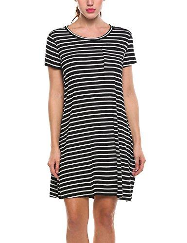 Zeagoo Damen Gestreiftes Kleid Rundhalsausschnitt A-Line Freizeitkleid Basic Blusenkleid kinelang Kurzarm Casual A-Line