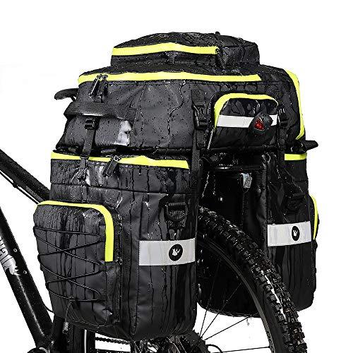 Rhinowalk Fahrradtasche Set für Fahrradgepäckträger, Satteltasche, Schultertasche, Laptop, Gepäckträger, Fahrradtasche, professionelles Fahrrad-Zubehör, 3 in 1, Green Zippers