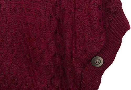 styleBREAKER poncho in maglia con abbondante motivo in maglia, chiusura metallica sul colletto e bottoni sulle maniche, collo alto, scollo a V, donna 08010044 Bordò-Rosso