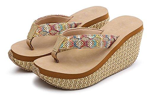 Slip sandales de plage et pantoufles été Mme pente sandales à talons hauts avec une croûte épaisse plat Brown