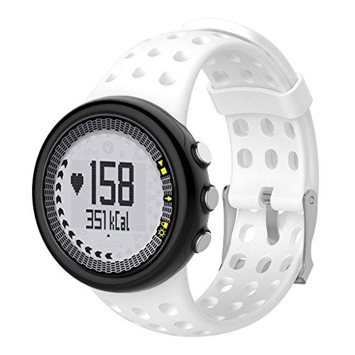 Hergon 8 Farben Uhrenarmband, SUUNTO Quest M1 M2 M4 M5 M Serie Silikon Armband Ersatz Uhr Armband für Damen (Weiß)