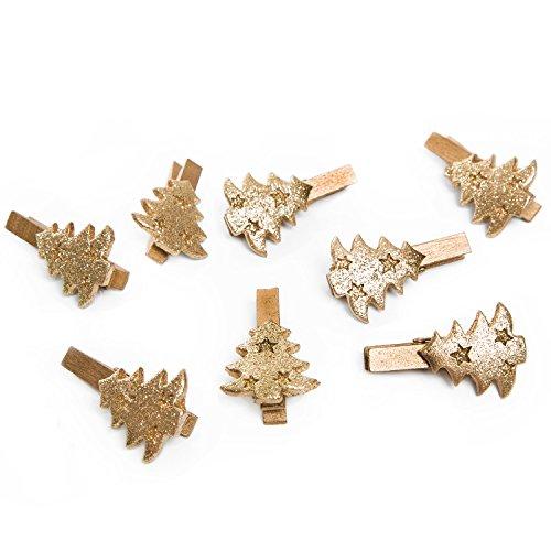 ANGEBOT 8 Stück kleine gold-farbene Zier-Klammern WEIHNACHTSBAUM TANNEN-BAUM Christbaum 5 cm Weihnachtsklammer Deko-Klammern Holz-Klammern Mini-Klammern Mini-Wäscheklammern