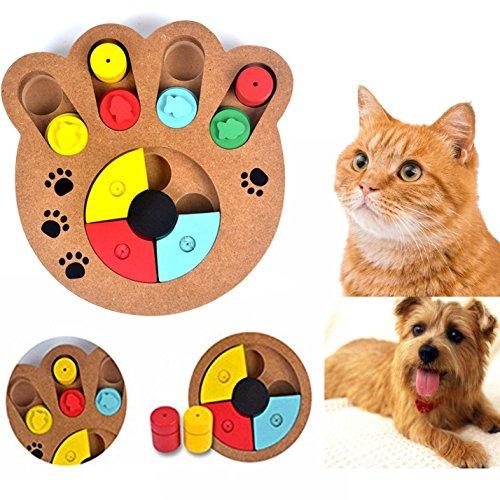 Cisixin Jouet Educatif pour Chien - Jouets interactifs en Bois - Fun cacher et chercher des aliments traités Pet Paw Toy Puzzle pour Chien Chat