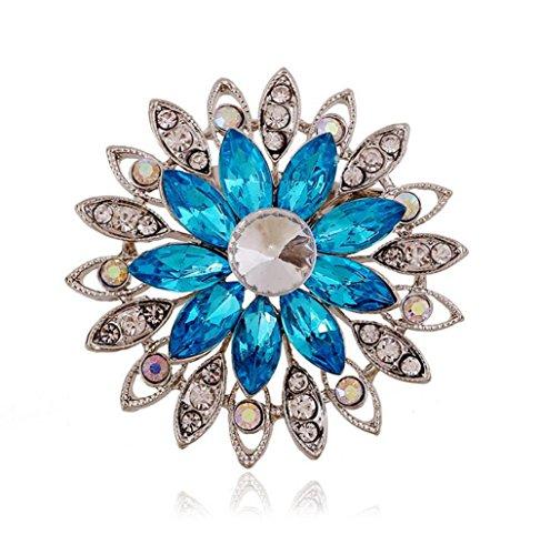 Zink-mädchen (Qingsun Damen Mädchen Brosche Anstecknadeln Blume Form Zink Legierung Strass Hohl Design Nachahmung Diamant)