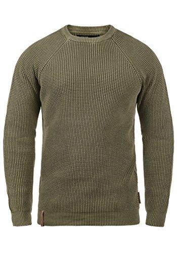 Indicode Rockford Herren Winter Pullover Strickpullover Grobstrick Pullover mit Rundhals-Ausschnitt, Größe:XL, Farbe:Dark Olive (644)