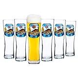 6er Set Paulaner Weizenbierglas - 0,5 Liter Bierglas mit Oktoberfest Dekor