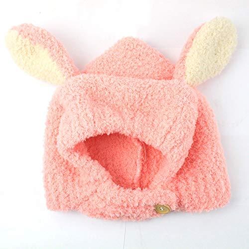 Bestknit Baby Mädchen Pompom Hut Requisiten häkeln Gestrickte Pom Pom Mütze Beanie Earflap Beanie warme Herbst Winter (Farbe : Rosa)
