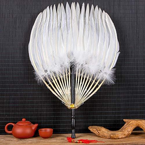 plzxy Federfächer Handgemachte antike Handwerk Fan Loch Fan chinesische Wind Gans Fan Fan@Gänsefedern weißer Holzgriff Loch Ming Fan