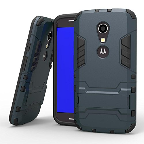RME Heavy Duty D3 Robot Kickstand Cover Shockproof Military Grade Armor Dual Protection Layer Hybrid TPU + PC Kickstand Cover SPACE GREY52 Moto G2
