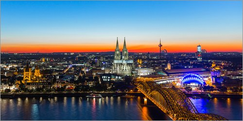 Posterlounge Acrylglasbild 80 x 40 cm: Köln Skyline von rclassen - Wandbild, Acryl Glasbild, Druck auf Acryl Glas Bild