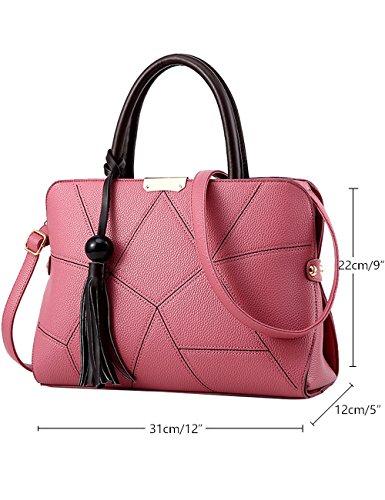 Menschwear Leather Tote Bag lucida PU nuove signore borsa a tracolla Viola Rosa
