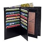 LIVAN® -Portefeuille Grand Classique Porte 20 Carte crédit Billet Monnaie en Cuir synthétique Homme (Noir 706)