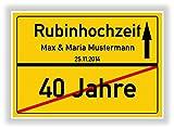 Geschenkidee zur Rubinhochzeit - 40 Jahre Verheiratet - Rubin Hochzeit - Ortsschild Bild Geschenk zum Jubiläum mit Namen und Datum