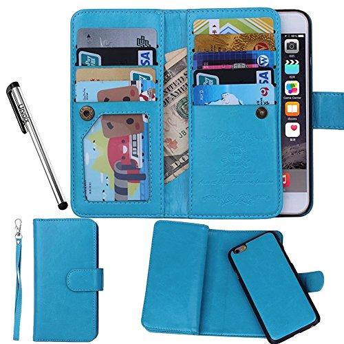 Urvoix Hülle / Brieftasche für Apple iPhone 6 / 6s 11,9cm (4,7Zoll), Leder, 2-in-1-Klapphülle mit Kartenfächern und abnehmbarer, magnetischer Hülle für das Smartphone Flip Cover - Handy Speck Brieftasche
