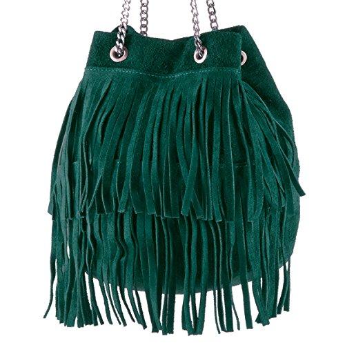 BORDERLINE - 100% Made in Italy - Bucket Bag Frauen Wildleder - VIRGINIA Petroleum Grün