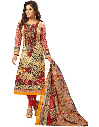Jevi Prints Multicolor & Red Unstitched Women's Pakistani Lawn Cotton Abstract Printed...