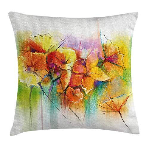 Nifdhkw Watercolor Flower Home Decor Pillow case Vibrant Autumn Bouquet withTypes of Blooms Daffodil Fragrant Imagees -