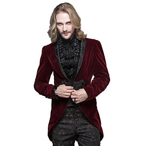 Devil Fashion Gothic Herren Kleid Jacken Steampunk Party Schwalbenschwanz Mäntel Rot
