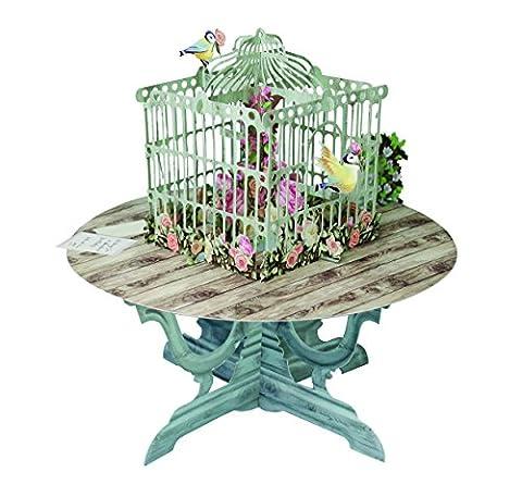 L'oiseau Table avec roses–3d Pop Up Carte de vœux