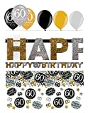 Feste Feiern Geburtstagsdeko Zum 60 Geburtstag | 8 Teile Luftballon Girlande Konfetti Gold Schwarz Silber Party Deko Set Happy Birthday