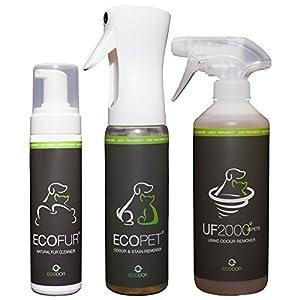 ECODOR - Haustierpaket 1x UF2000 500 ml Uringeruchsneutralisierung, 1x EcoPet 300 ml Geruchs- und Fleckenentferner, 1x EcoFur Fellreiniger 200 ml. Rein vegan und ohne Tierversuche hergestellt. Sie sparen 15% gegenüber dem Einzelkauf.