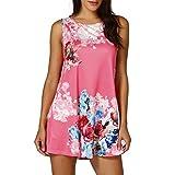 VEMOW Muttertag Geschenk Sommer Damen Damen Casual Blumendruck Sleeveless Weste Shirt Tank Bluse Tunika Tops Tees Pullover(Hot Pink, EU-44/CN-L)