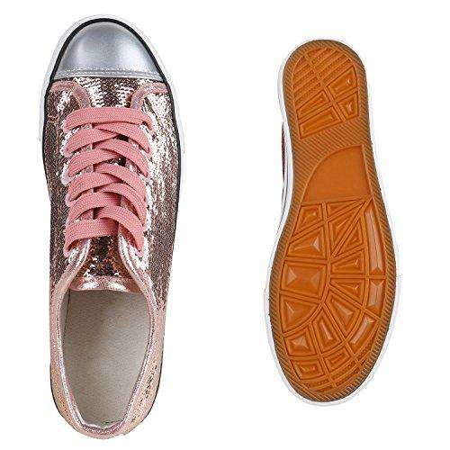 Glänzende Damen Sneakers Metallic Glitzer Pailletten Flats Turnschuhe Rose Gold Glanz