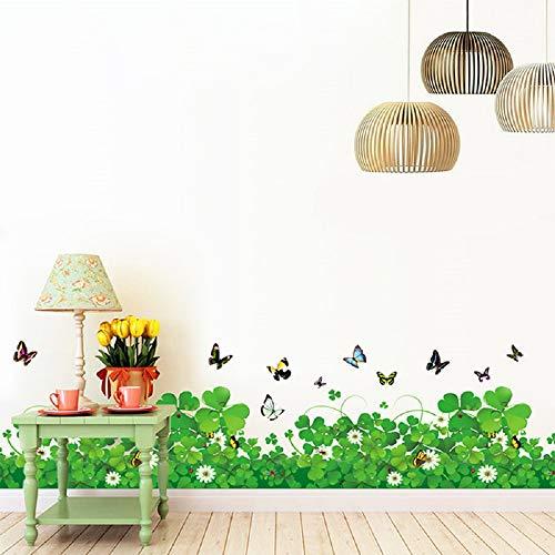 WandSticker4U- Wandtattoo Blumenwiese KLEEBLATT | Breite: 228 cm | Wandaufkleber Gräser Pflanzen Blumen Fenstersticker Schmetterlinge grün Wiese Garten Bordüre | Deko für Wohnzimmer Kinderzimmer Flur