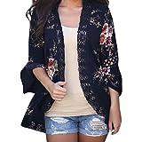 TUDUZ Damen Casual Langarmshirts Blumen Cardigan Strickjacke Offener V-Ausschnitt Asymmetrisch Outwear Kimono Jacke(XL,Marine)