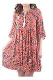 Abbino 97211 Kleid mit Blumendruck Damen Frauen - Made in Italy - 7 Farben - Übergang Frühling Sommer Herbst Fashion Feminin Festlich Feminin Komfortabel Modisch Sexy Sale Jung - Koralle Rot