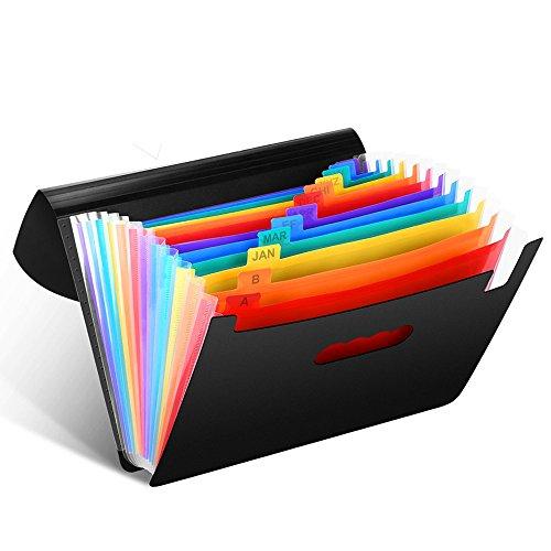 Trieur Extensible A4 12 Poches Divisibles Soufflets Porte-documents Office Organizer pour la maison/le bureau, reliure à anneaux, à utiliser comme boîte d'archivage/documents