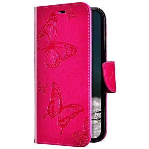 Uposao Kompatibel mit Huawei P20 Lite Hülle Ledertasche Tasche Flip Case Cover Schmetterling Motiv Muster Lederhülle Klapphülle Wallet Cover Magnetisch Handytasche Kartenfächer,Rose Pink