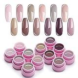 UR SUGAR 7,5ml UV Gel Nagellack Set Nude Farben Serie für Nagelgel Maniküre und 3 Pcs UV Gellack Liner Brush Kit