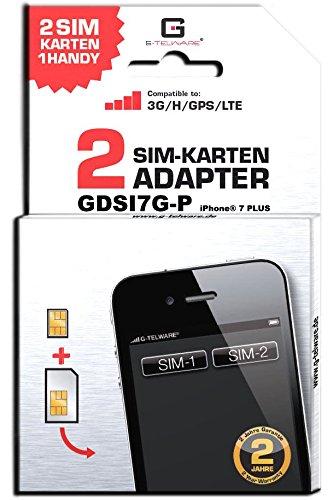 G-TELWARE GDSI7G-P/CARBONSCHWARZ/ 2 Jahre Herstellergarantie!/ Mehrsprachig/Dual SIM DualSIM Adapter kompatibel mit iPhone 7 Plus UMTS/3G/HSDPA/GPS/LTE Dual-sim-iphone