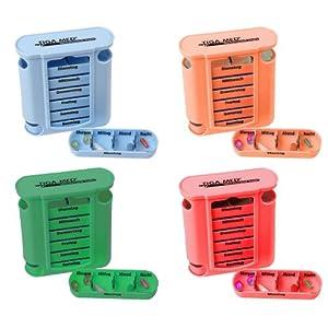 Medikamentendosierer Tablettenbox 4er Set (=4Stück – jede Farbe 1x) Pillenbox Pillendose 7 Tage Medikamenten Dosierer Spender Original Tiga-Med Qualität