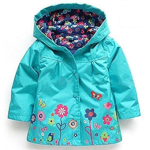 1-6 ans Enfants Manteaux Bébé Filles Garçons Imperméable Imperméable Vêtements pour les Enfants (90: adapté à la hauteur 90-95 cm, Bleu)